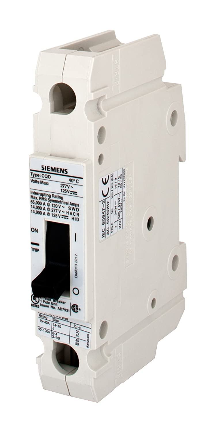 Siemens CQD140 40-Amp Single Pole 277V AC / 125V DC 14KAIC Cable In ...