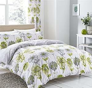 Estilo Acuarela Floral Flores Verde Gris Mezcla Algodón Doble (BLANCA LISA Sábana bajera - 137 x 191cm + 25) BLANCA LISA FUNDA ALMOHADA AMA CASA 6 piezas Juego de cama