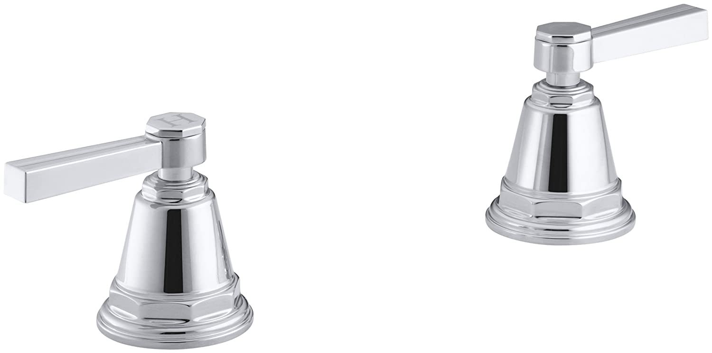 Valve Not Included Handles Only KOHLER K-T13141-4B-CP Pinstripe Bath- or Deck-Mount High-Flow Bath Valve Trim with Lever Handles Polished Chrome