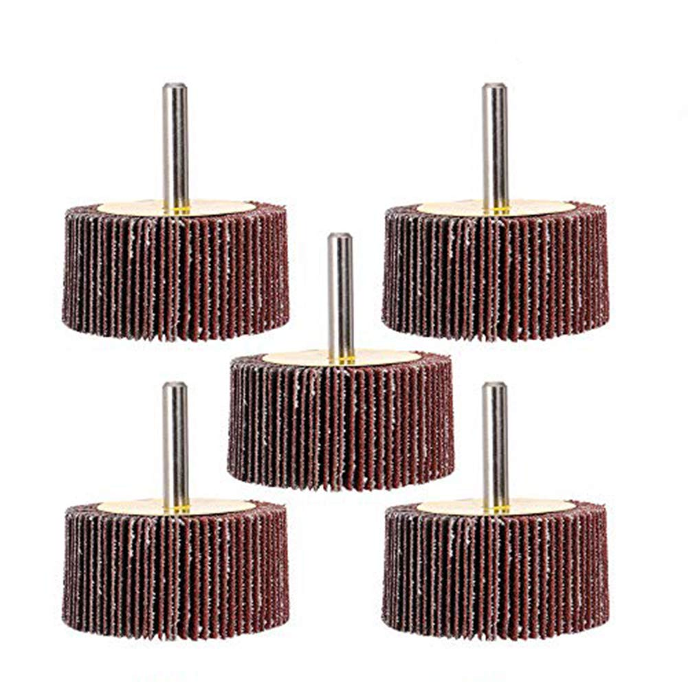 "Mounted Flap Wheels 2inch x 1inch with 1/4"" Shank,40 Grits Aluminum Oxide for Remove Rust and Weld Burr Fit for Most of Drill - 5 Pack SCOTTCHEN"