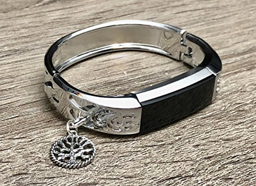 Bangle Bracelet Vintage Jewelry (Silver Metal Band For Fitbit Alta & Alta HR Fitness Activity Tracker Flowers Design Jewelry Fitbit Alta/Alta HR Handmade Bracelet With Silver Vintage Tree Of Life Charm Accessory Bangle)