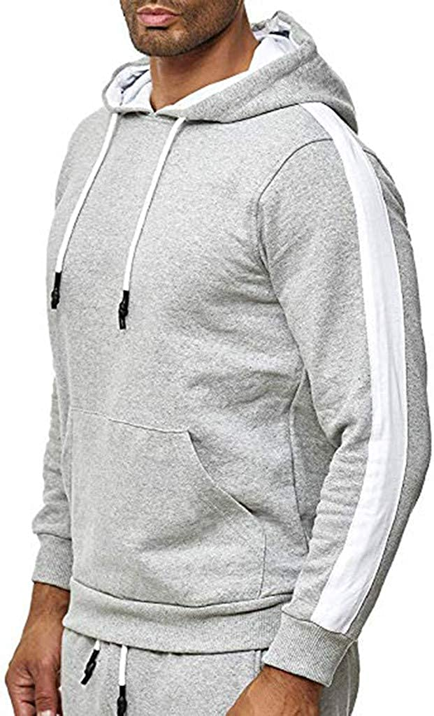 M-3XL VEFSU Men Retro Plaid Pullover Casual Slim Hooded Long Sleeve Sports Sweatshirt