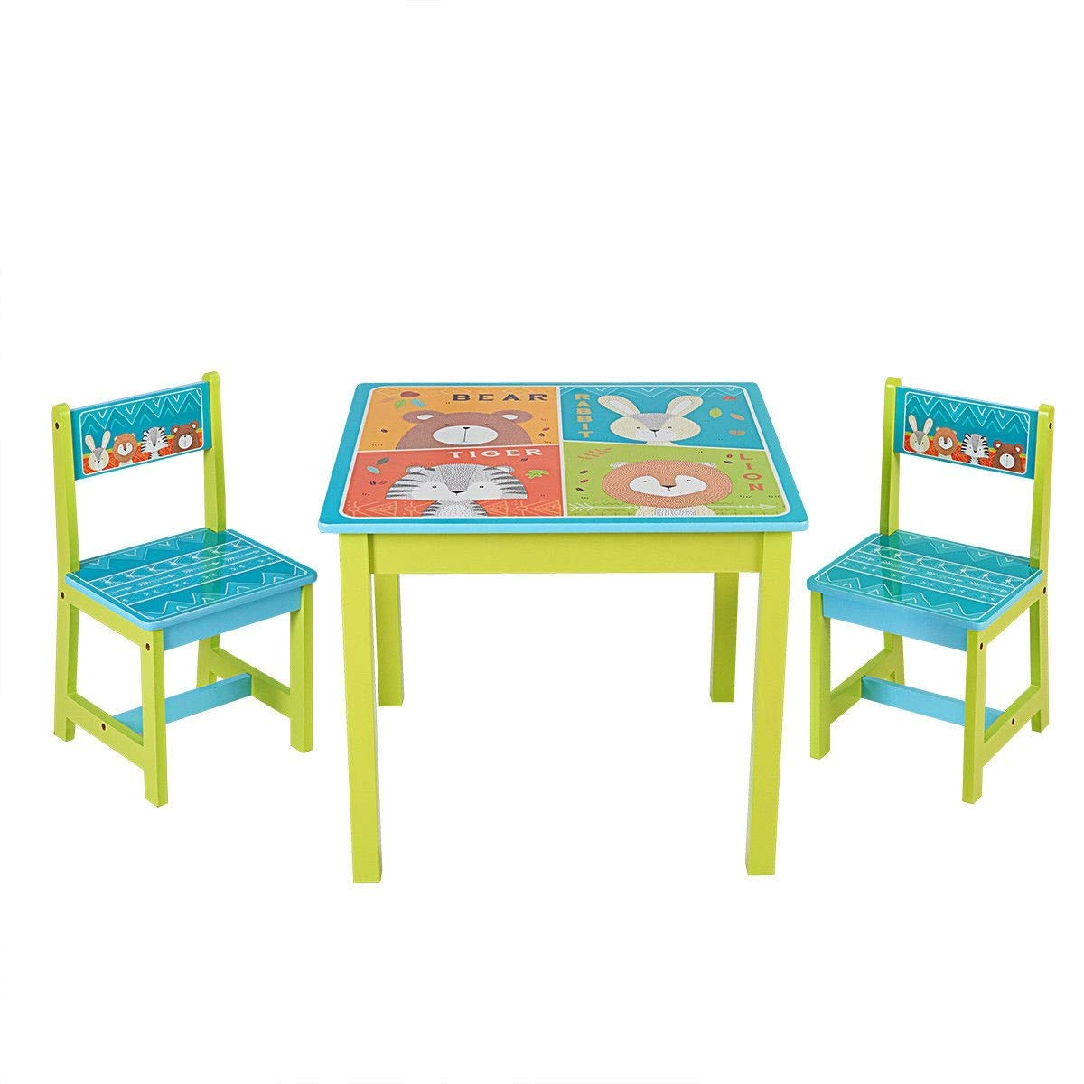 Amazon com usa best seller kids table and chairs set for toddler baby gift desk furniture with cartoon pattern environmental friendly 3 kitchen dining