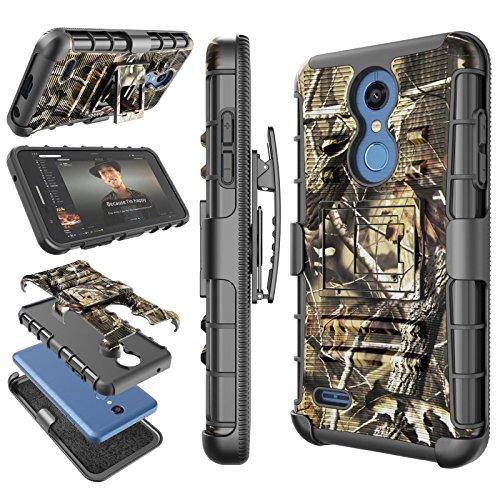 LG K30 / LG Xpression Plus Case, LG Harmony 2 / Phoenix Plus/LG Premier Pro LTE / K30 Plus Holster Clip, Tekcoo [Hoplite] [Camouflage] Locking Belt Defender Full Body Kickstand Carrying Camo Cover