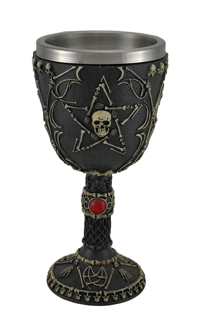 Skull and Bones Pentagram Bat Wing Chalice w/Stainless Steel Insert Zeckos