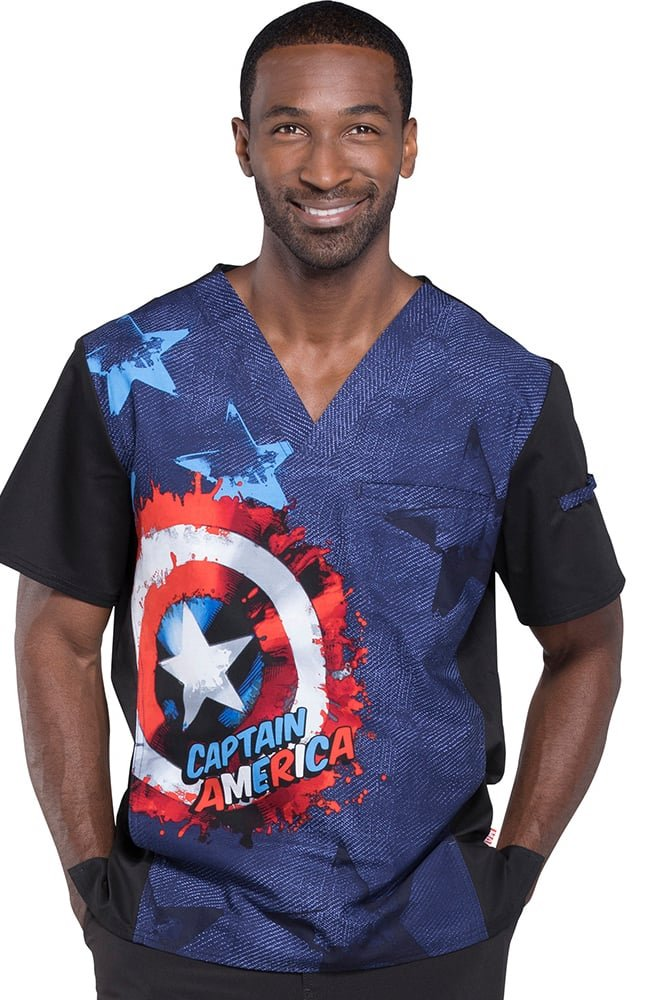 Cherokee Tooniforms Men's V-Neck Capitan America In Shield Print Scrub Top S
