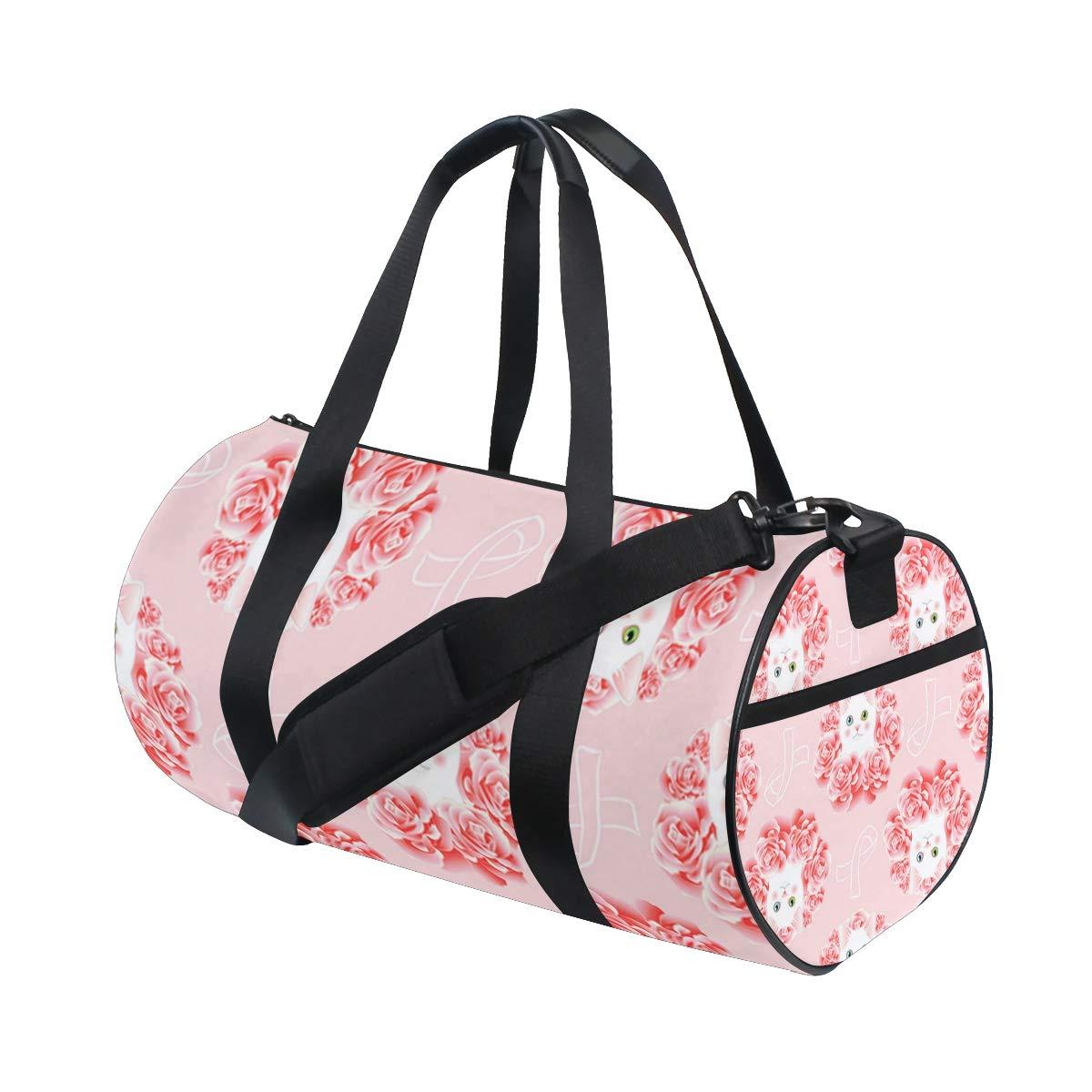 Sports Gym Duffel Barrel Bag Kitty Pink Awareness Ribbon Travel Luggage Handbag for Men Women