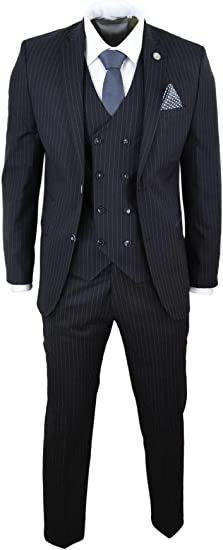 Costume Noir Homme 3 pièces Style Gatsby années 20 Peaky Blinders Ganster  Rayures Fines Coupe ajustée