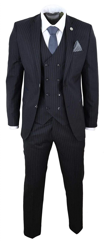 TruClothing.com Abito Elegante da Uomo 3 Pezzi Motivo a Righe gessate Stile Peaky Blinders Gatsby