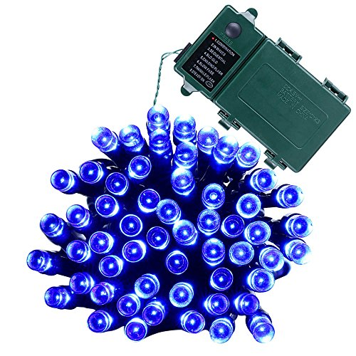 Qedertek Battery String Lights, Outdoor LED Lights 50 LED 13.4ft Lighting with 8 Modes for Halloween, Christmas,Holiday, Party, Garden, Patio, Xmas, Lawn Decor (Blue)