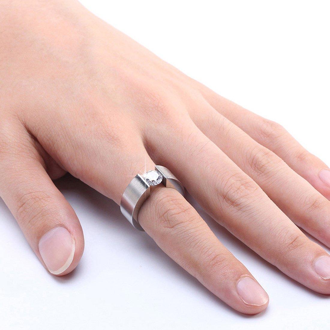 JAYEJA AAA+ Zircon Ring Titanium Steel Men Women Ring for Engagement ...