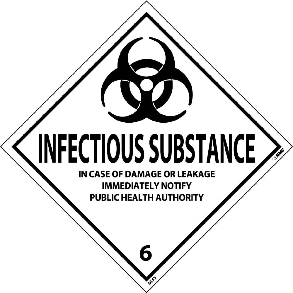 DL53ALV National Marker Dot Shipping Label, Infectious Substance 6, 4 Inches x 4 Inches, Ps Vinyl, 500/Roll