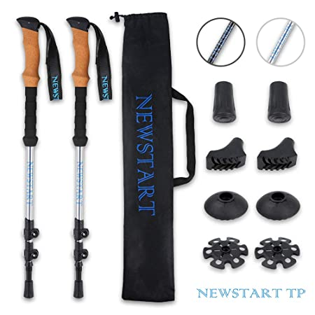 NEWSTART PARTS Trekking Poles, Ultra Strong Hiking Walking Poles with Lightweight 7075 Aluminum Natural Cork and EVA Foam Grips, Adjustable Quick Lever-Lock, No Sweaty Hand, One Pair 2 Poles