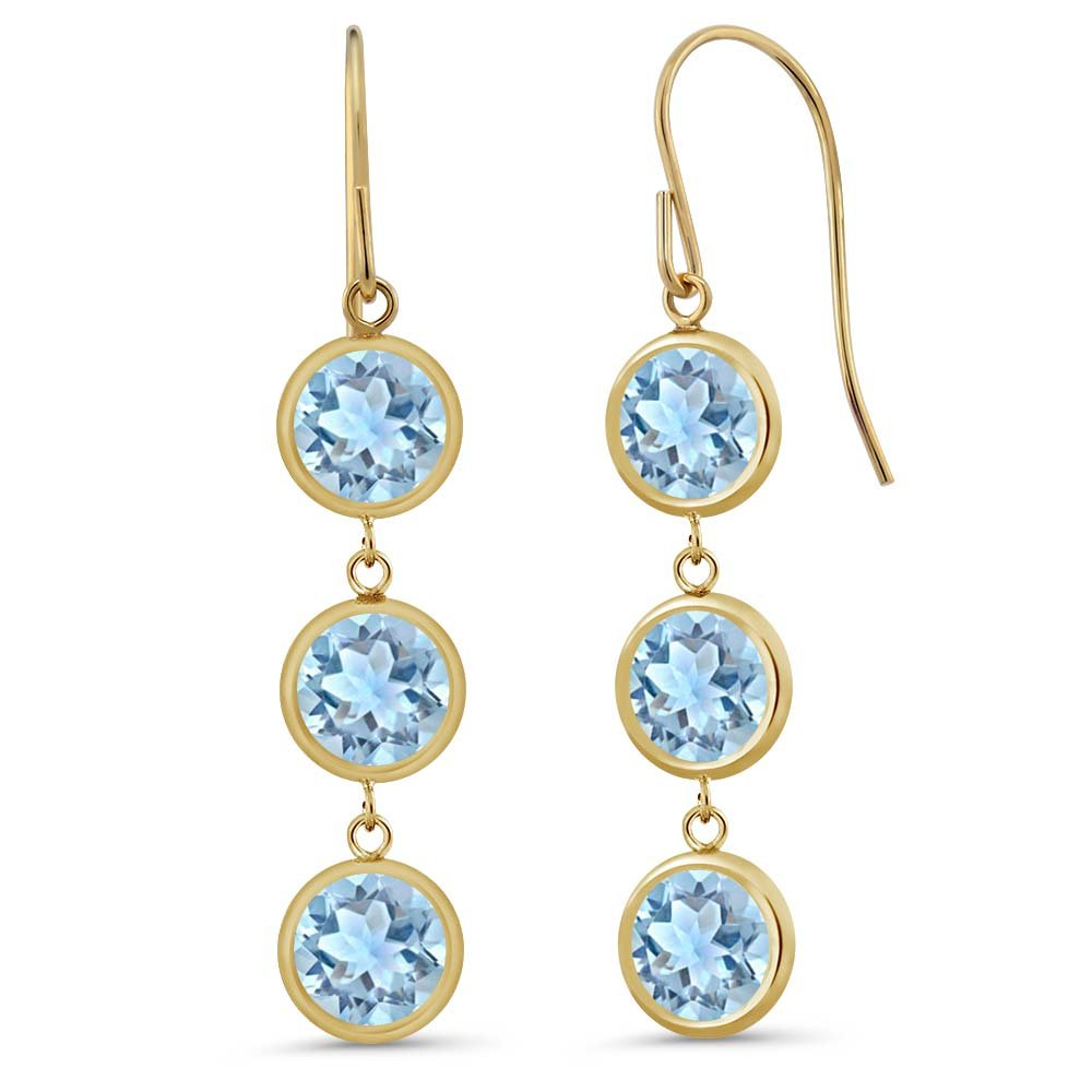 2.64 Ct Round Sky Blue Aquamarine 14K Yellow Gold Bezel 1'' Dangle Earrings