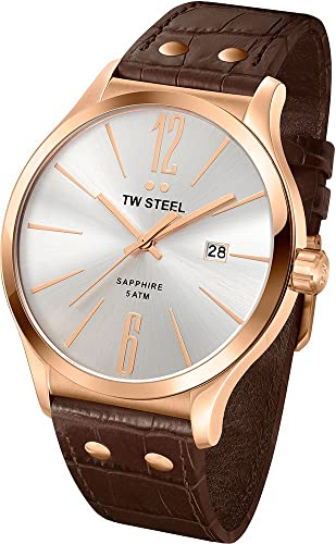 TW Steel Slim Line Silver Dial Brown Leather Mens Watch TW1304