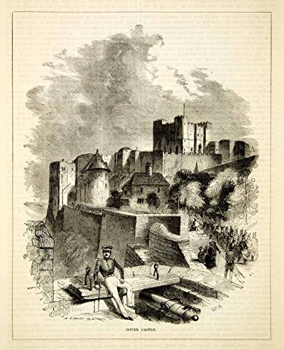 1876 Wood Engraving Antique Dover Castle Medieval Fortress Key to England TWW1 - Original In-Text Wood Engraving - Engraving England Antique