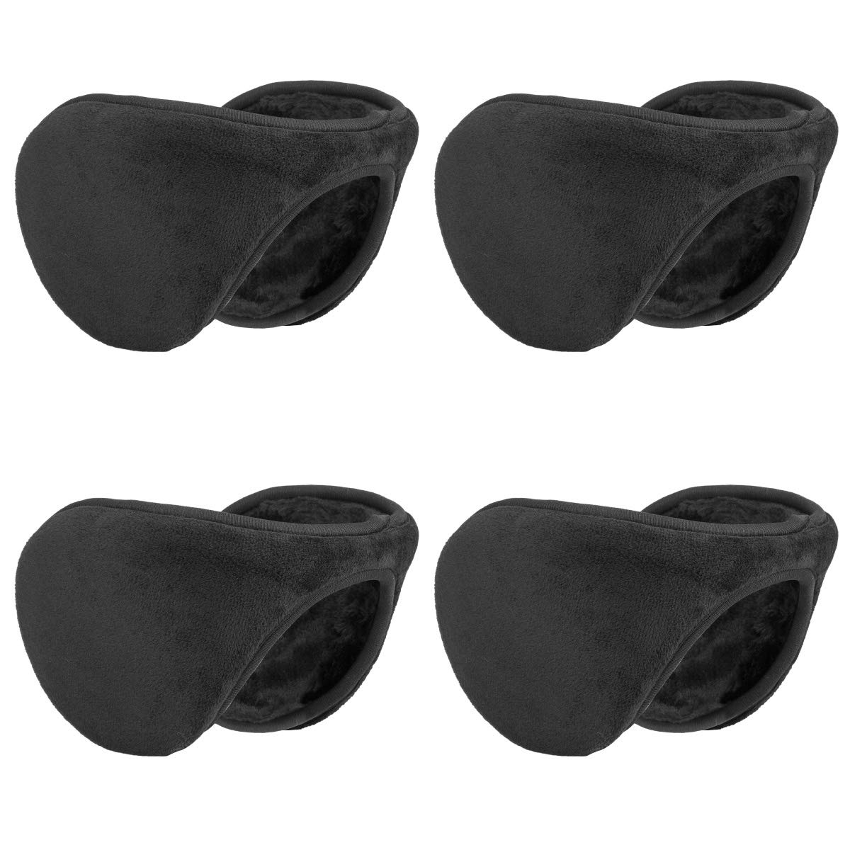 Metog Winter Outdoor Earmuffs Fleece Ear Warmer Black 4 Pack