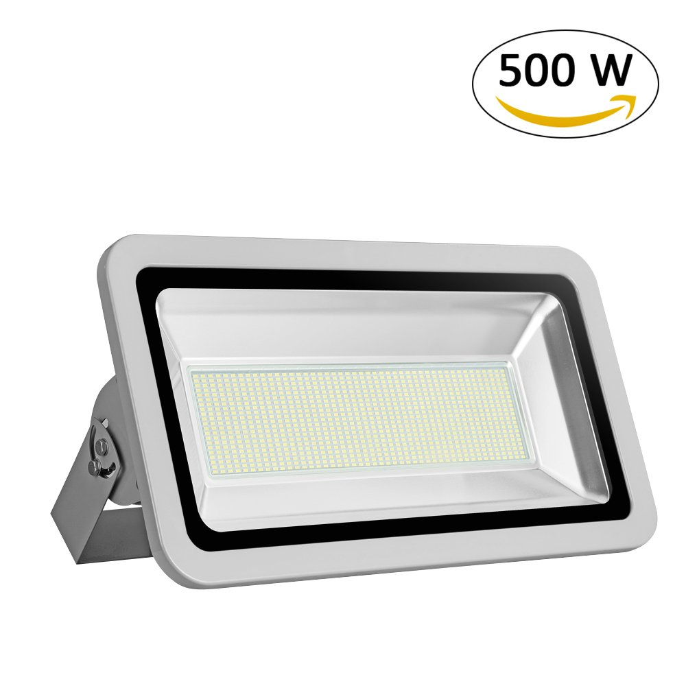 Missbee Super Bright 500W LED Flood Light, 55000lm Outdoor Landscape Flood Light, Security Light , 6000-6500K, Work for Garage, Garden, Lawn,Yard and Playground (Cold White)