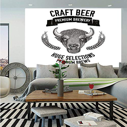 (SoSung Man Cave Decor Huge Photo Wall Mural,Hand Drawn Beer Emblem with Buffalo Ox Bull Premium Brewery Oats Selections,Self-Adhesive Large Wallpaper for Home Decor 108x152 inches,Black White)