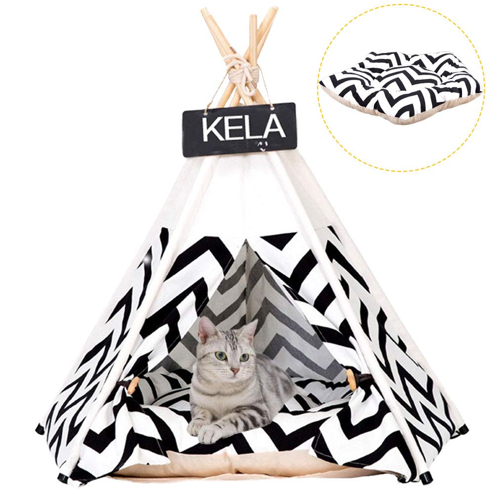 Pet Tent for Dogs Puppy Cat Bed White Canvas Dog Cute House Pet Teepee with Cushion 24inch Indoor Outdoor