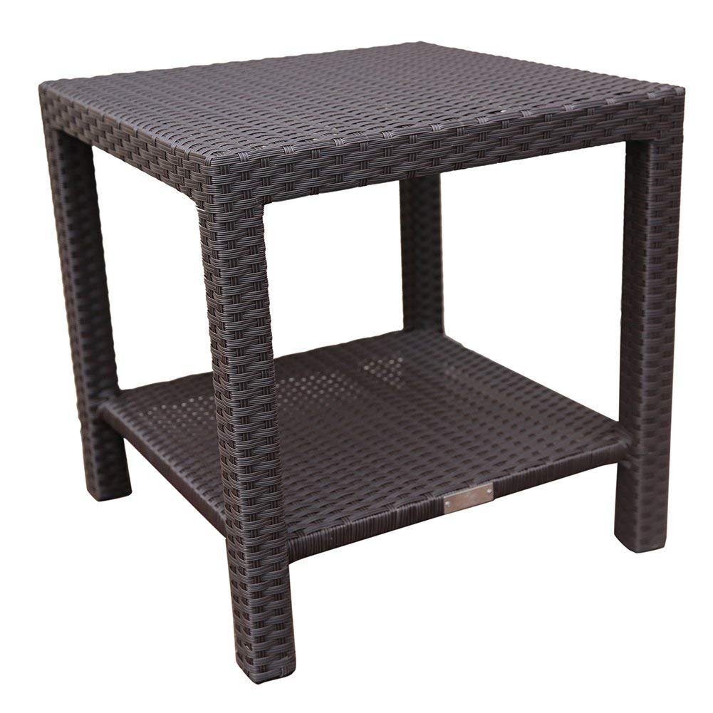 Abba Patio Outdoor Wicker Patio Square End Table Side Table with Storage, 20''W x 20''D x 20''H, Dark Brown