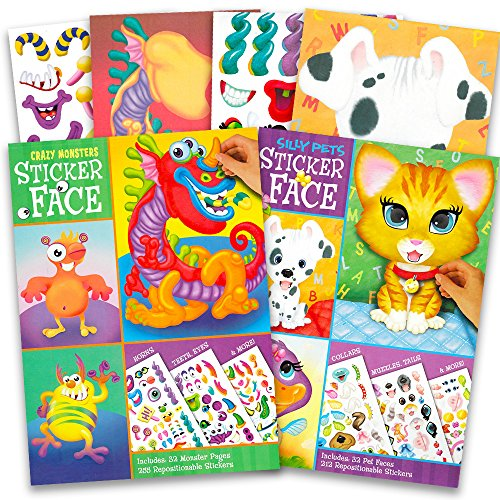 Jumbo Sticker Books (Make a Face Sticker Books for Kids Toddlers -- Set of 2 Jumbo Books with over 60 Faces and 400 Stickers (Sticker Face Activity Set))