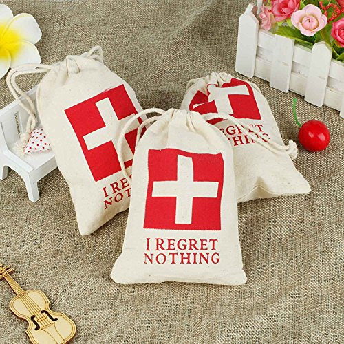 - AccMart 10PCS Favor Bags|Hangover Kit Bags|Cotton Muslin Drawstring Bag|First Aid Kit|Survival Kit|for Wedding Bridal Shower Bachelorette Party Hen Party Recovery Kit Bags 4 x 6 Inch(RANDOM PATTERN)