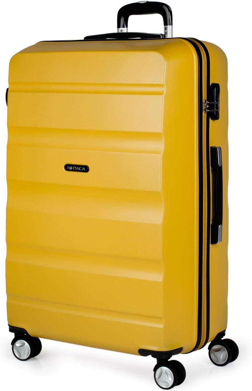 ITACA - Maleta de Viaje Rígida 4 Ruedas Grande XL Trolley 77 cm de ABS Lisa. Dura Resistente y Ligera. Gran Capacidad. 2 Asas y Candado. Estudiante y Profesional. T71670, Color Mostaza