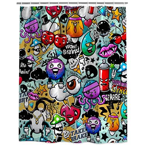 Halloween Theme Cartoon Brains Eyeball and Monster Shower Curtain Mildew Resistant Waterproof Polyester Fabric Bath Curtains for Bathtubs Bathroom 66