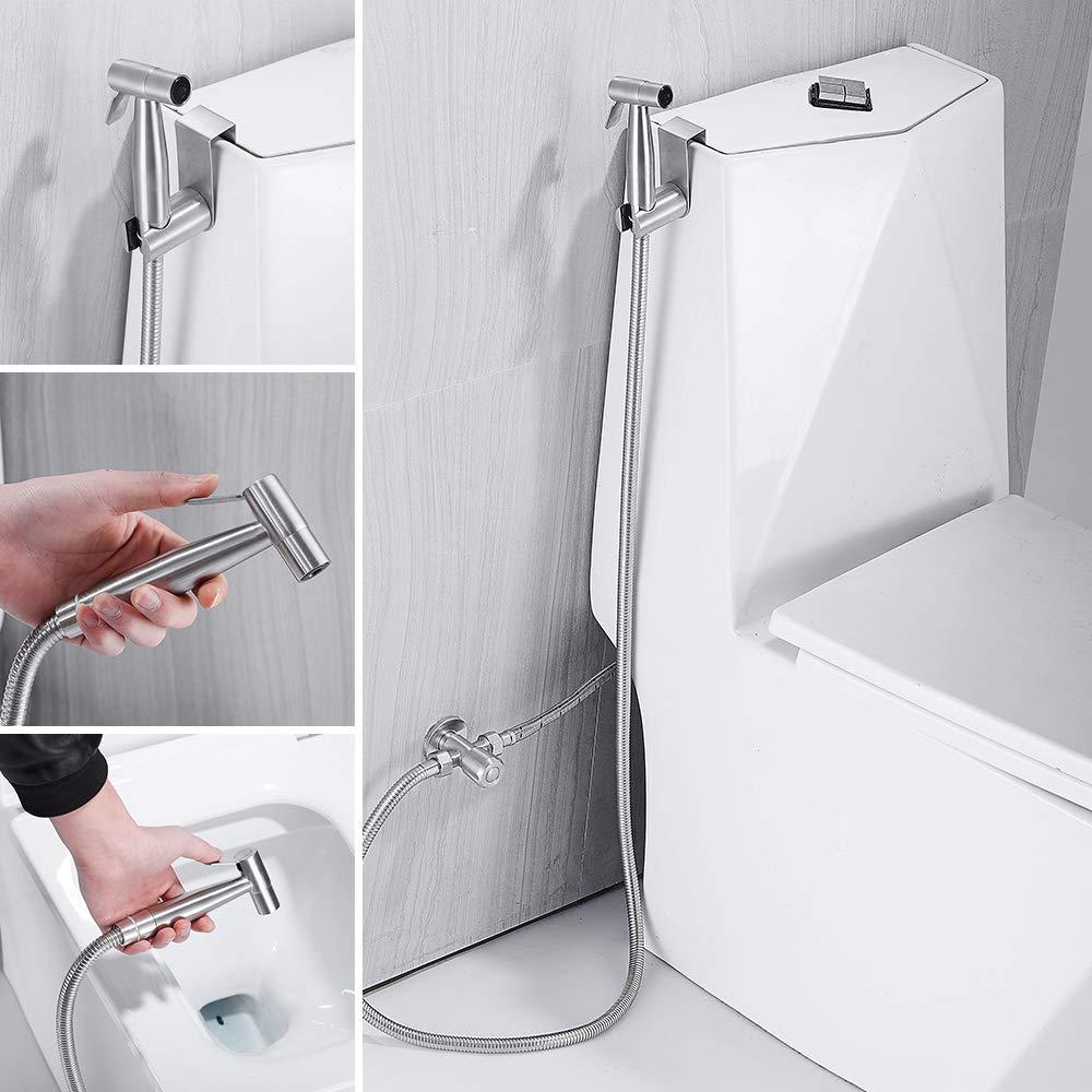 Bidet Handbrause Set, Toilette Bad Bidet Armaturen Edelstahl Toilettensprü her Sprayer fü r persö nliche Hygiene Bidet WC Waschen Windel Dusche Tierbad CoolMarteu