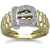 Jewelco London 9 Carat Yellow Gold 15pts DIAMOND Buckle Ring