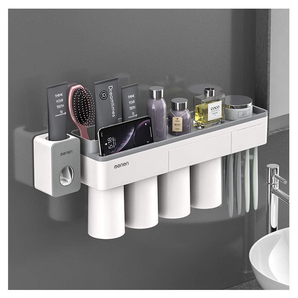 IKEAR Magnetic Toothbrush Holder Wall Mount Family Electric Toothbrush Storage Set with Toothpaste Dispenser & Germ Protecting Cover Perfect for Kids Bathroom (Gray, Four Cups)