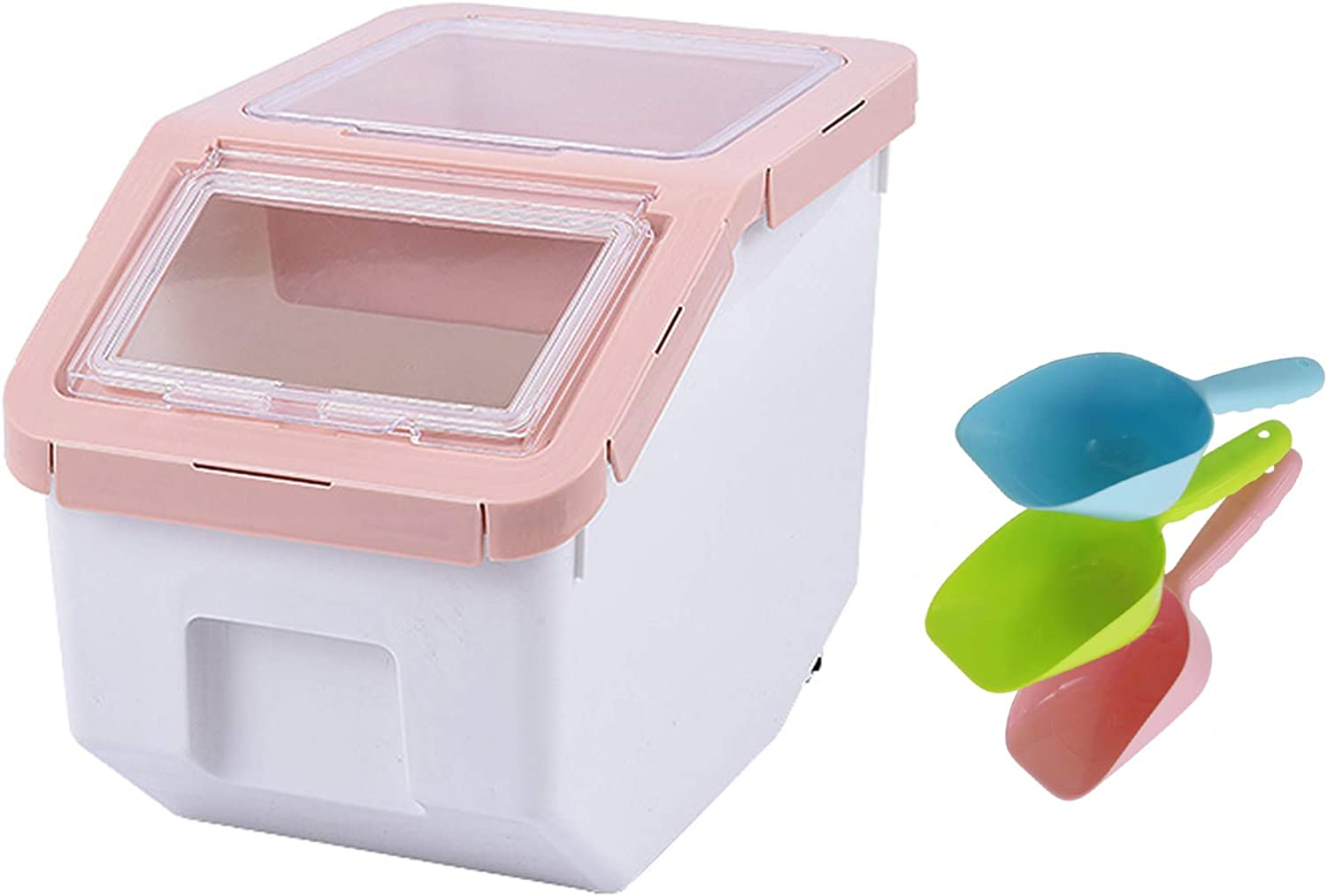 MXCELL Pet Grain Storage Barrels Sealed Bucket for Cat Dog Food Storage Boxes Moisture-Proof Pet Food Containers Interlayer Storage Feeder with Food Scoop and Measuring Cup, Pink(Small)