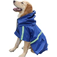Dog Raincoat Leisure Waterproof Lightweight Dog Coat Jacket Reflective Rain Jacket with Hood for Small Medium Large Dogs