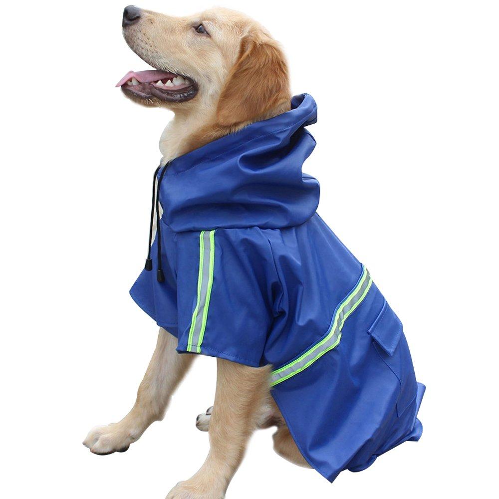 Dog Raincoat Leisure Waterproof Lightweight Dog Coat Jacket Reflective Rain Jacket with Hood for Small Medium Large Dogs(Blue,M)