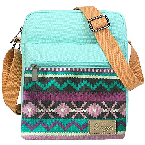 Girls Flowers Crossbody Bag Set Canvas Small Cross Body Bags for Women Messenger Shoulder Bag with Matching Wristlet for Traveling Gift (Teal (Messenger Shoulder Mini Purse Bag)