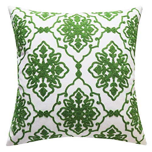 SLOW COW Cotton Embroidery Decorative Throw Pillow Cover for Couch Modern Bohemian Flower Accent Pillowcase Cushion Cover 18 X 18 Inches Green, 1PC