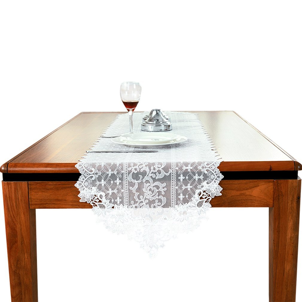 TaiXiuHome White Classic European Style Embroidery Hollow Lace Table Runner Translucent Gauze for Outdoor Wedding Party Decoration 16 x 40 inch approx