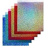 "TECKWRAP 12""x10"" Holographic Heat Transfer Vinyl Sheets Shining Laser Iron On Vinyl 6 Sheets"