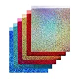 TECKWRAP 12''x10'' Holographic Heat Transfer Vinyl Sheets Shining Laser Iron On Vinyl 6 Sheets