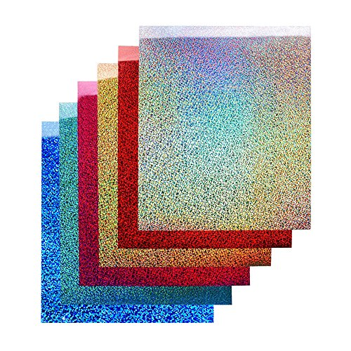 TECKWRAP 12'x10' Holographic Heat Transfer Vinyl Sheets Shining Laser Iron On Vinyl for Silhouette Cameo,Cricut 6 Sheets