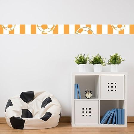 Cenefa con diseño de balón de fútbol de luz naranja y blanco ...