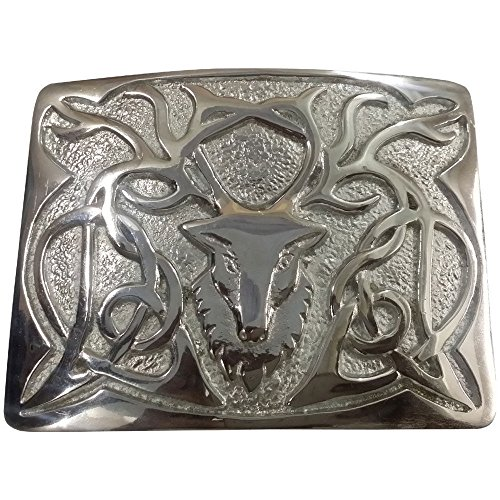 AAR Scottish Highland Kilt Belt Buckle Stag Head Design Chrome Finish