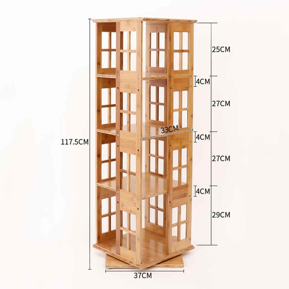 Biblioteca Sexy Librería de Madera 3/4/5/6 Niveles gradas de bambú hogar Informal Giratorio estantería Moderna Simple Estante de Almacenamiento gabinete (Tamaño : 37  37  117.5cm)