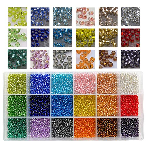 (10800pcs in Box 18 Multicolor Assortment 8/0 Beading Glass Seed Beads Transparent Silver Lined Loose Spacer Crystal Seed Beads,3mm Round, Hole 1mm (600pcs/Color, 18)