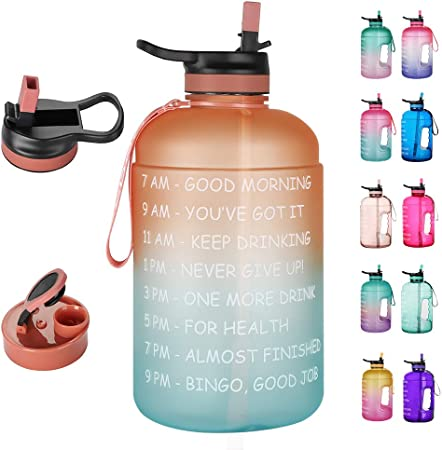 Opard One Gallon/Half Gallon Motivational Water Bottle with Time Marker & Straw to Drink, Large BPA Free Leakproof Water Jug for Sports and Outdoor Activity