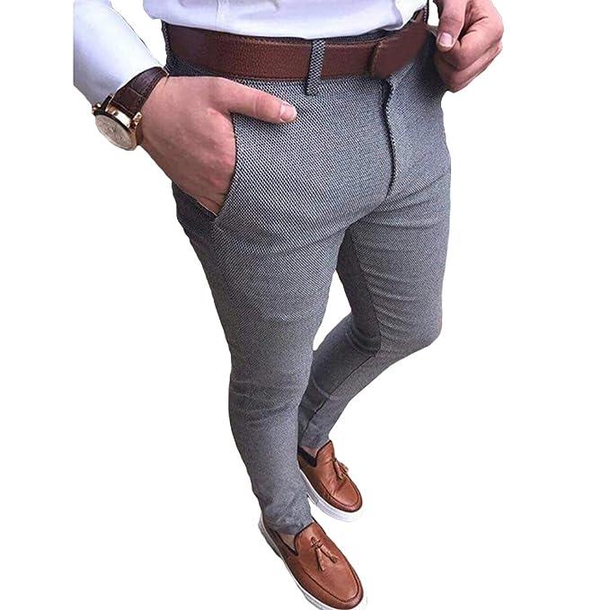 Traje Pantalones Hombre Color sólido Pantalones Largos ...