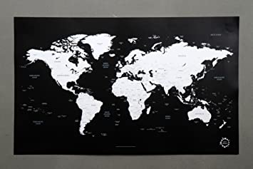 Black and white world map unique design poster print traveler black and white world map unique design poster print traveler gumiabroncs Choice Image