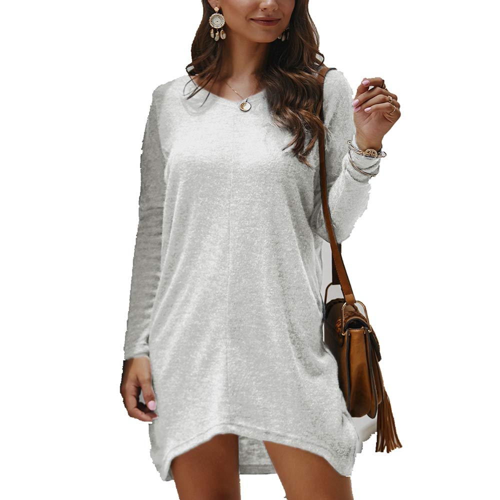 Women's Casual Knit Mini Dress,Long Sleeve Lightweight Sweater V Neck Solid Color Loose High Low Dresses,S-3XL White by KINGLEN Womens Dress