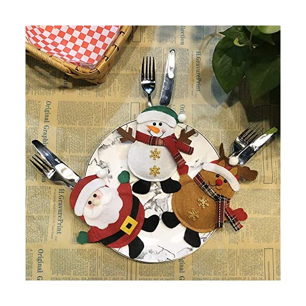 Hopeas 6pcs Portaposate Natalizie,Decorazione per Tavolo di Natale Babbo Pupazzo di Neve alci Natale Tasche Posate 7 spesavip